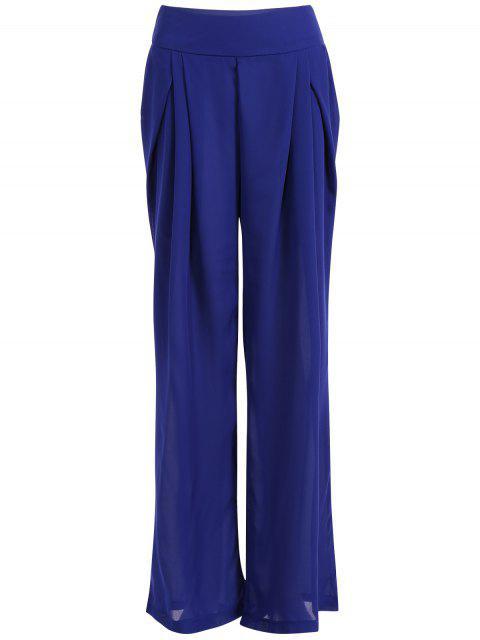 shop Chiffon Culotte Pants - BLUE M Mobile