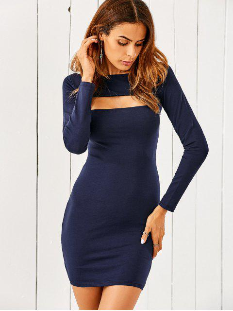 women's Long Sleeve Cut Out Bodycon Dress - BLUE M Mobile