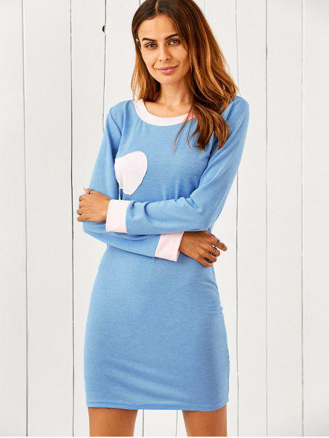 online Heart Patch Bodycon T-Shirt Dress - LIGHT BLUE M Mobile