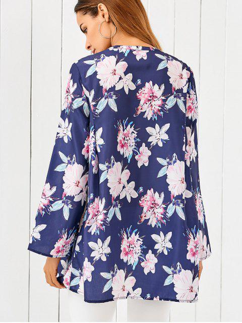 shop Floral Print Loose Dress - BLUE M Mobile