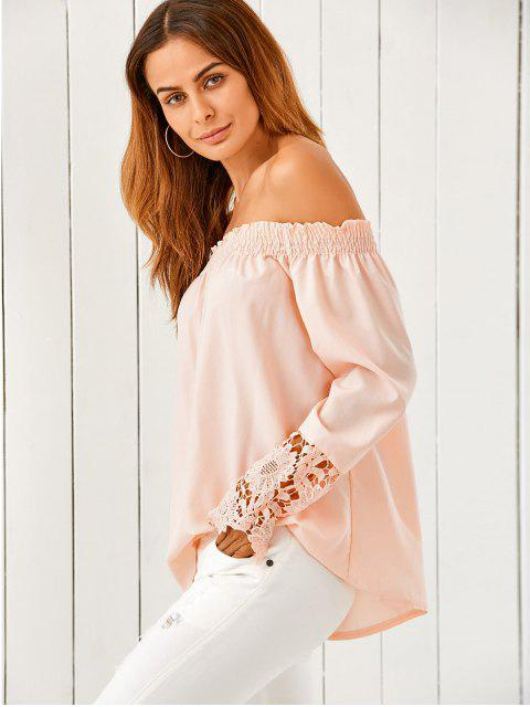 women Off The Shoulder Loose Blouse - NUDE PINK S Mobile