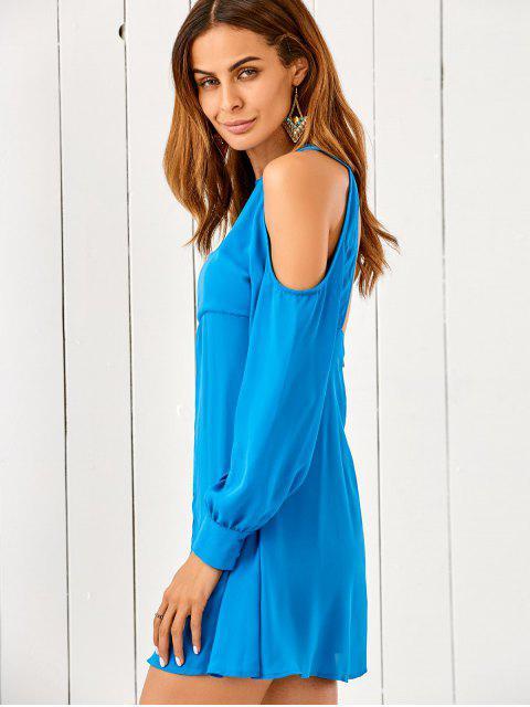 buy Cut Out Cold Shoulder Chiffon Dress - BLUE S Mobile