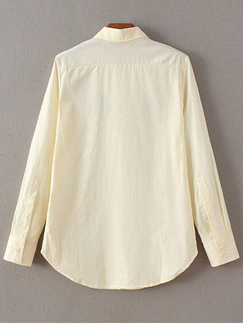 hot Casual Floral Embroidered Shirt - OFF-WHITE M Mobile