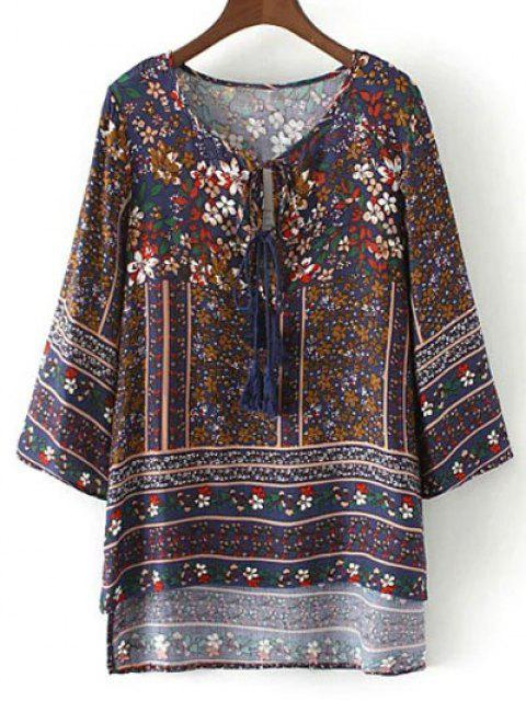 trendy High Low Retro Print Tunic Top - COLORMIX M Mobile