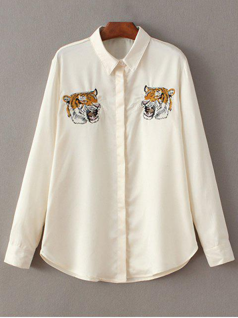 Chemise brodée animaux tigres - Blanc Cassé M Mobile