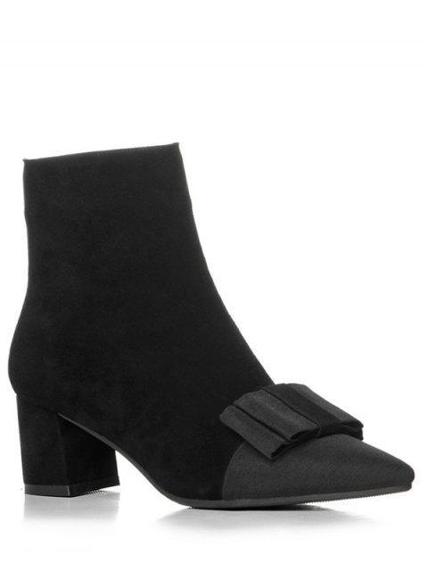 Spitzschuh Stiefel mit Schleifedetail und Blockabsatz - Schwarz 38 Mobile