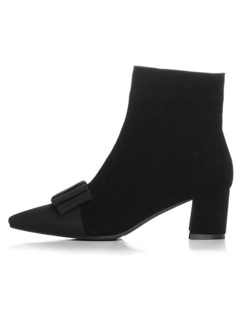 latest Bowknot Pointed Toe Chunky Heel Boots - BLACK 38 Mobile