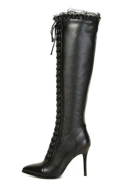 chic Lace-Up Pointed Toe Stiletto Heel Boots - BLACK 38 Mobile