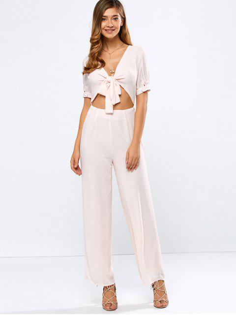 outfits Cropped Tied Wide Leg Jumpsuit - SHALLOW PINK M Mobile