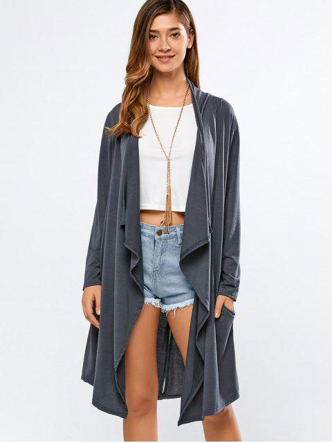 women's Long Sleeve Back Slit Long Cardigan - DEEP GRAY XL Mobile