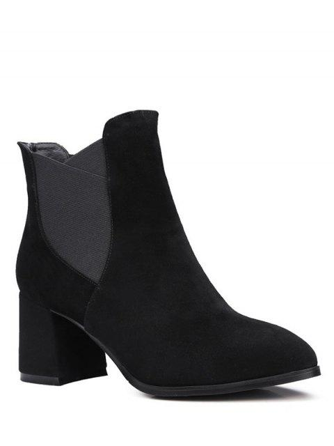 new Pointed Toe Chunky Heel Ankle Boots - BLACK 39 Mobile