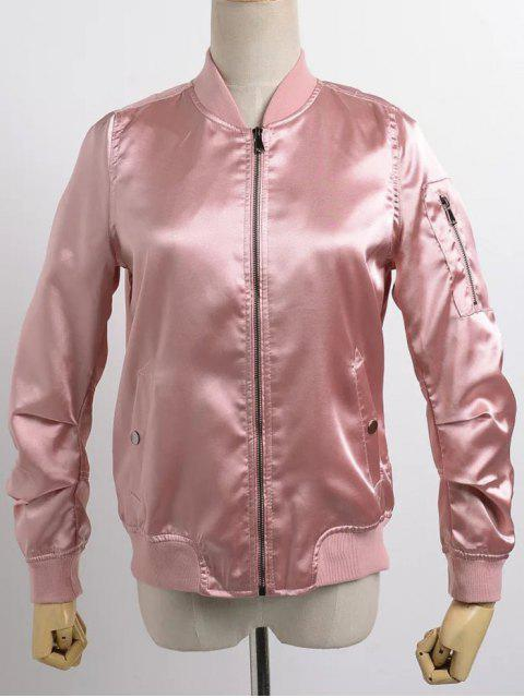 trendy Satin Bomber Zippered Jacket - PINK L Mobile