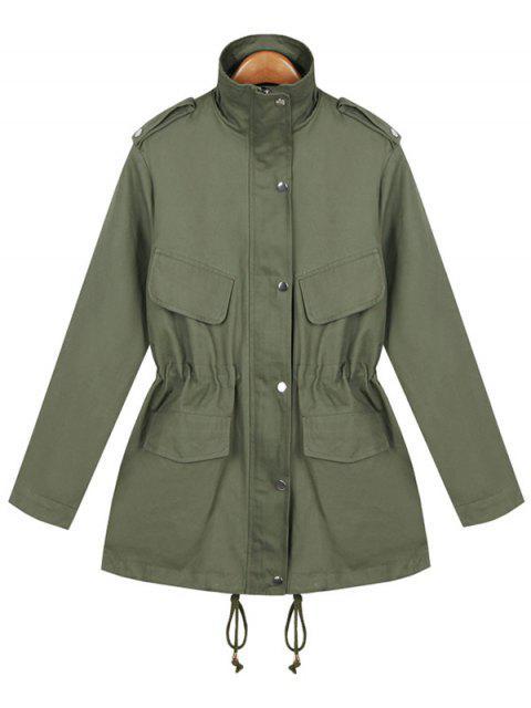 Manteau style militaire décontracté avec lien coulissant - Vert Armée TAILLE MOYENNE Mobile