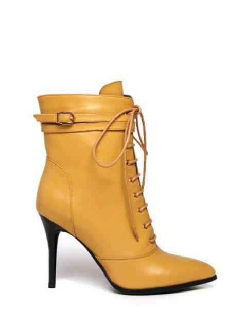 latest Leather Pointed Toe Lace-Up High Heel Boots - YELLOW 39 Mobile
