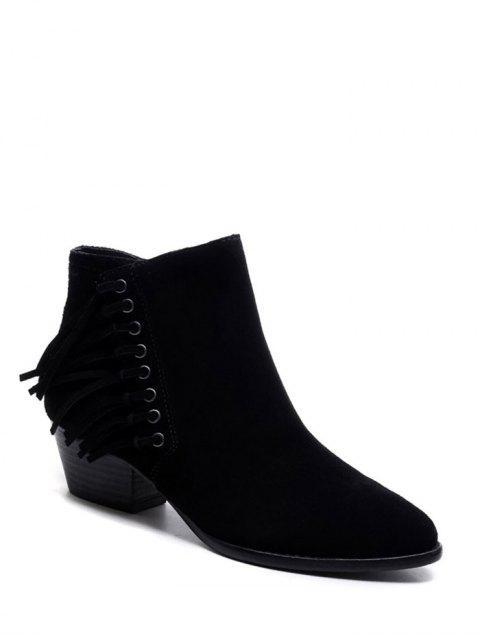 women's Chunky Heel Eyelet Fringe Ankle Boots - BLACK 38 Mobile