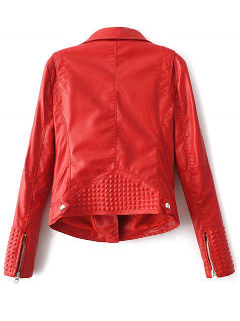 Veste en PU cuir avec col à revers de style motard - Rouge M Mobile