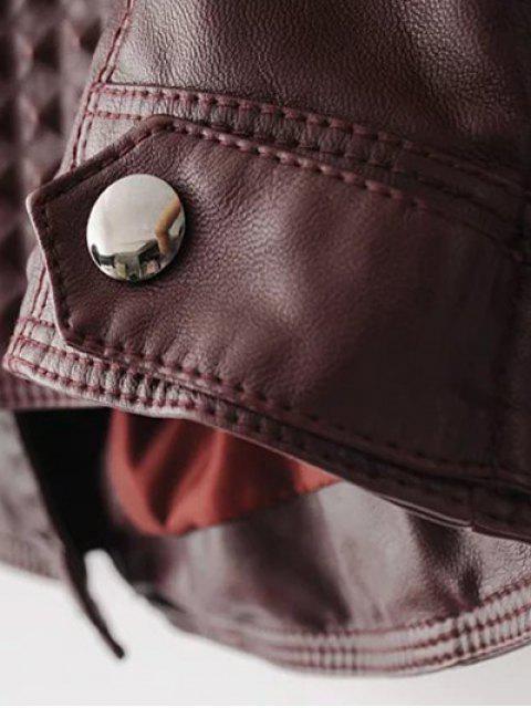 Veste en PU cuir avec col à revers de style motard - Rouge Foncé S Mobile