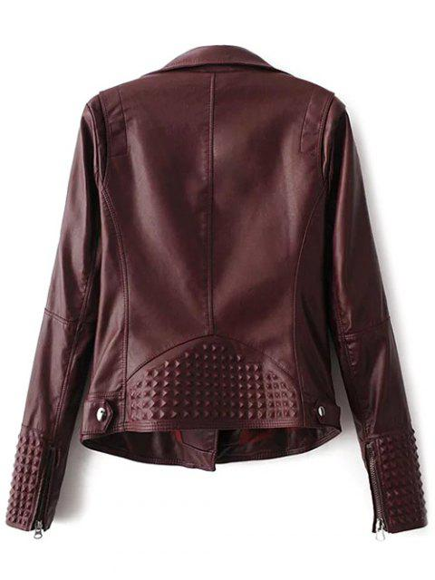 new Zippered Lapel Collar Biker Jacket - DARK RED M Mobile