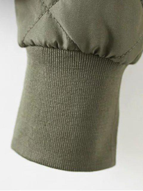best Argyle Padded Jacket - ARMY GREEN M Mobile