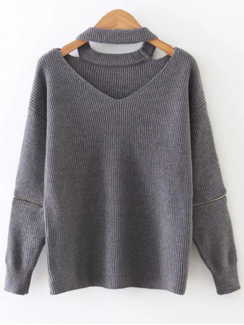 shops Zipper Sleeve Cut Out Choker Sweater - GRAY ONE SIZE Mobile