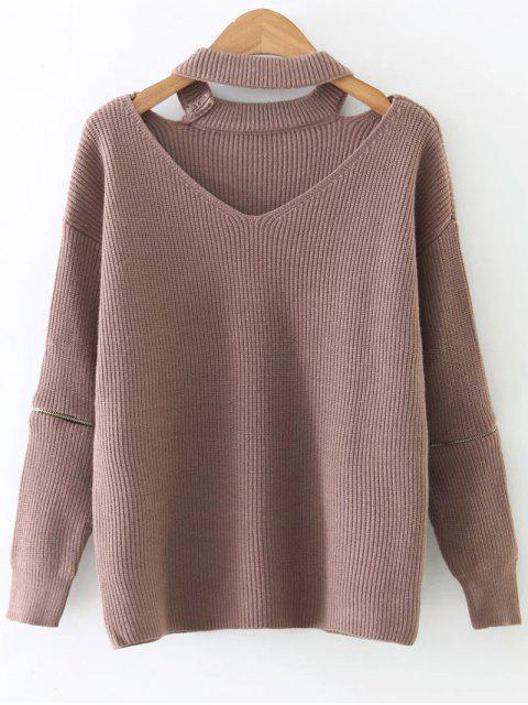 Pull tricot  ras-de-cou à manche longues avec fermetures à deux manches - Kaki TAILLE MOYENNE Mobile