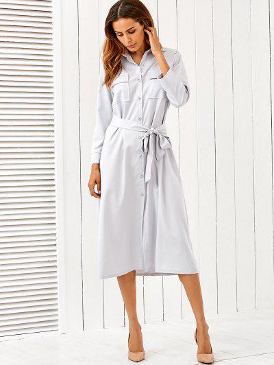 Belt Midi Shirt Dress - Light Gray Xl