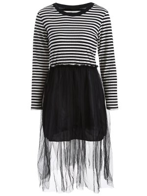 Striped Mesh Spliced Faux Twinset Sweater Dress - Black 2xl