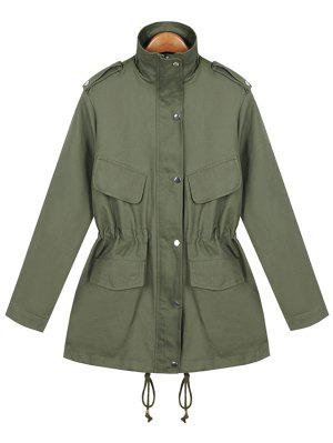 Loose String Utility Coat - Army Green