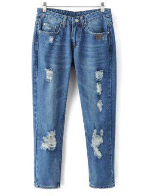 Skinny Ripped Narrow Feet Jeans - Denim Blue L
