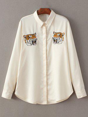 Camisa Bordada Tigre - Quase Branco M
