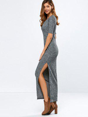 Ribbed Long Dress - Gray M