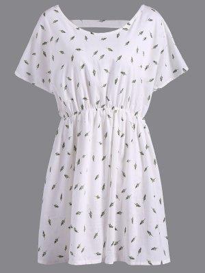 Refreshing V-Neck Short Sleeve Leaf Print Plus Size Women's Blouse