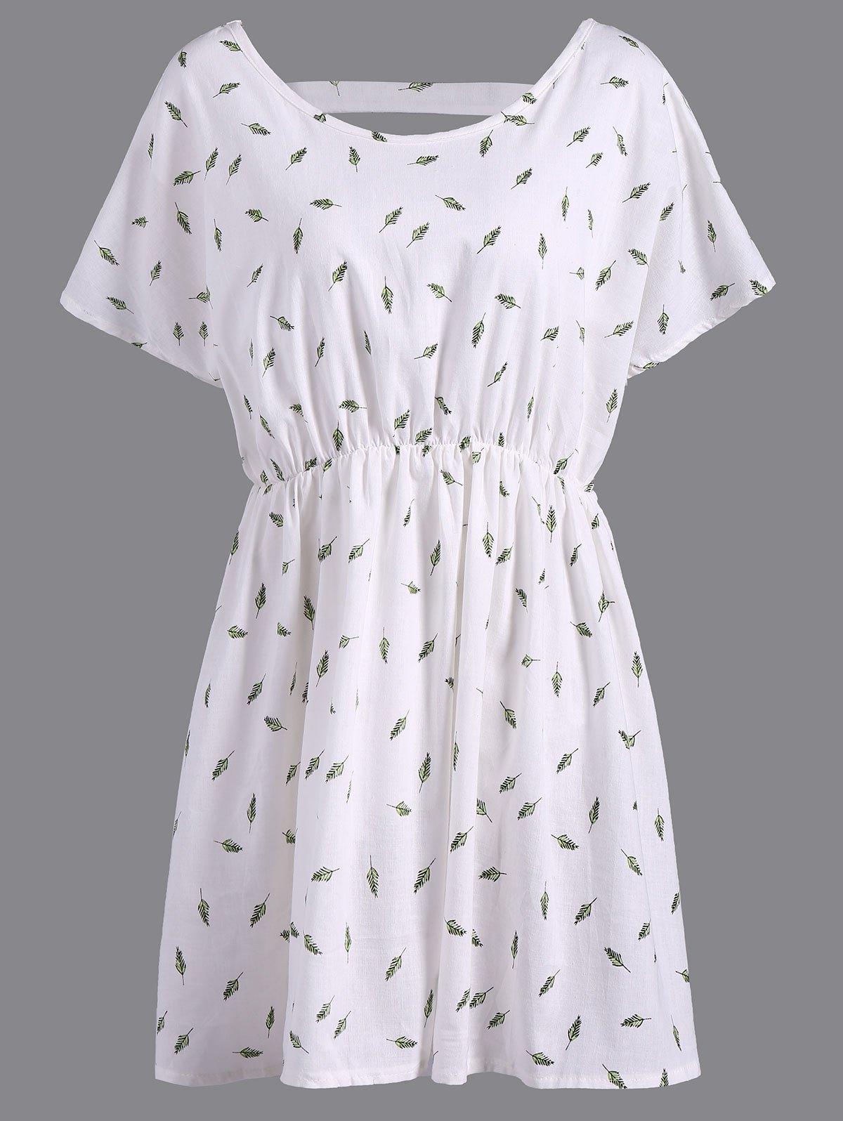 Erfrischende V-Ausschnitt Kurzarm Blatt Print Plus Size Women  's Bluse