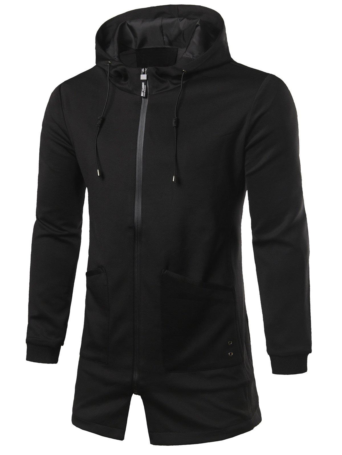 Hooded Zip Up Pocket Patched Longline Coat 198611203
