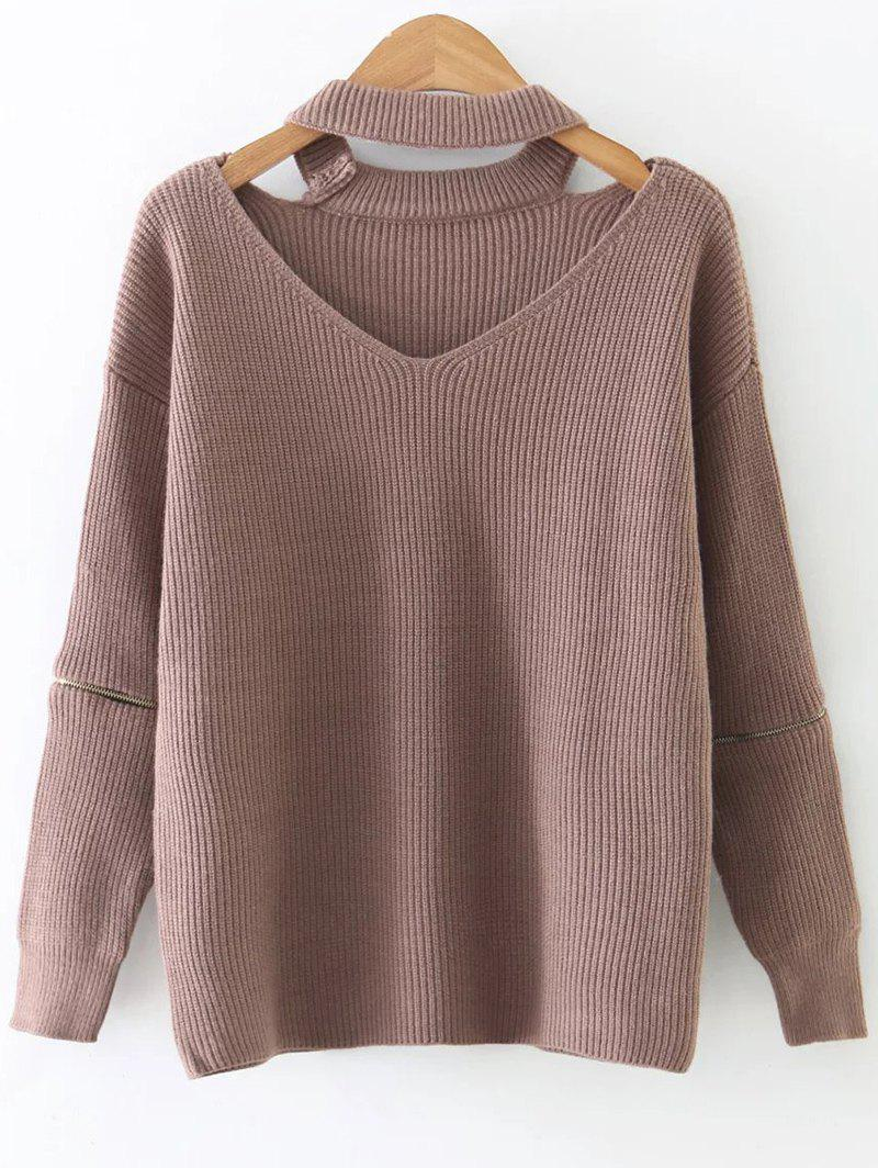 Zipper Sleeve Cut Out Choker Sweater