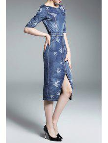 44f7bfdf561 24% OFF  2019 Front Slit Fitted Denim Dress In DENIM BLUE