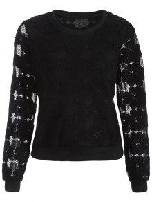 Flocked Mesh Sweatshirt - Black M