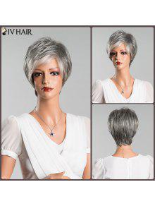 متعدد الألوان قصيرة منفوش مستقيم الجانب بانغ سيف شعر مستعار الإنسان