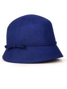 Petit Bowknot Lace-Up Chapeau Cloche - Bleu Saphir