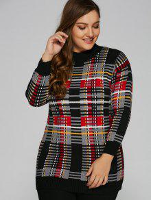 Plus Size Tartan Sweater - Black