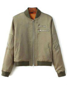 Multiple Zippers Bomber Jacket - Army Green S