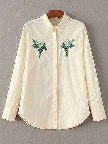 عارضة الأزهار المطرزة قميص - أبيض فاتح M