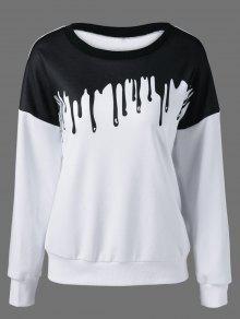 Printing Drop Shoulder Sweatshirt - White And Black Xl
