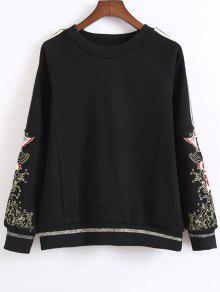 Fish Embroidered Sweatshirt - Black M
