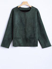 Wool Blend Cropped Jacket - Army Green M