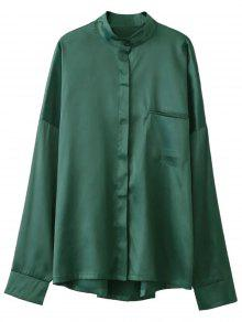 Stand Neck Satin Shirt - Green S
