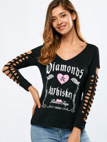 Cutout Letter Print T-Shirt - Black L