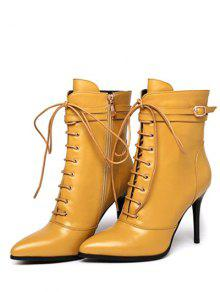 Leather Pointed Toe Lace-Up High Heel Boots YELLOW: Boots 37 | ZAFUL