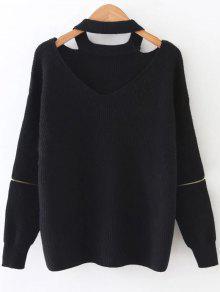 Zipper Sleeve Cut Out Choker Sweater - Black