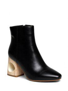 Square Toe Wooden Heel Leather Boots Black Pink